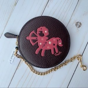 ♐️NWT Coach Round Coin Case With Sagittarius ♐️